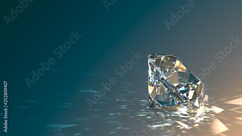 Foto Round cut diamond on gradient background, sparkles, shadow, caustics rays