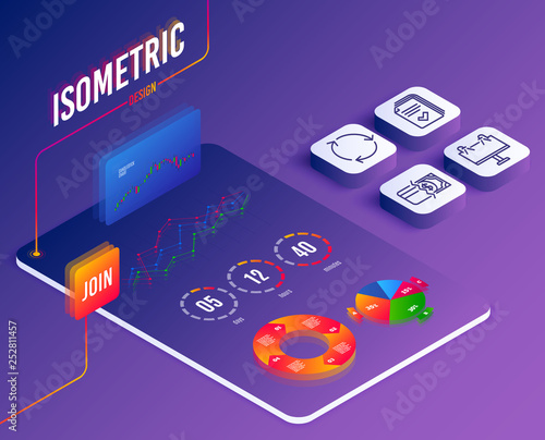 Isometric vector  Set of Handout, Road banner and Recycling icons