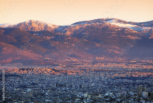 City and acropolis from Lycabettus hill in Athens at sunrise, Greece