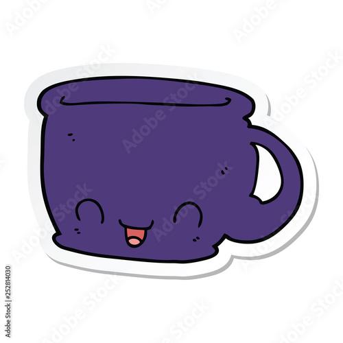 Fototapeta sticker of a cartoon cup of coffee obraz na płótnie