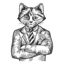 Kitten Head Businessman Sketch Engraving Vector Illustration. Scratch Board Style Imitation. Black And White Hand Drawn Image.