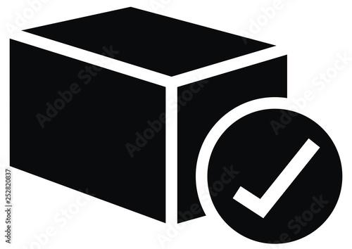 sent shipment, web vector icon, back silhouette Canvas Print