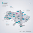 Ukraine vector map with infographic elements, pointer marks.