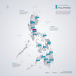 Philippines vector map with infographic elements, pointer marks.