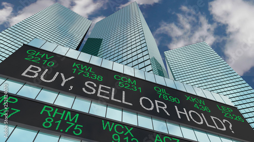 Buy Sell or Hold Stock Ticker Buildings 3d Illustration