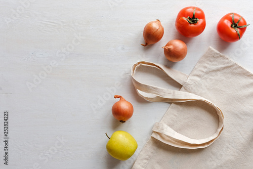 Fotografie, Obraz  Fresh fruit and vegetables with re-usable bag