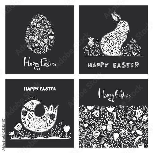 Fényképezés  Folk art set of with Easter egg, rabbit, chicken, flowers in scandinavian style