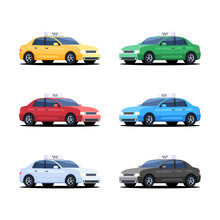 Set Of Taxi Cars