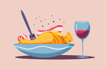 Italian Food. Delicious Pasta. Cartoon Vector Illustration.