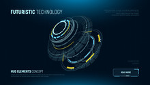 Futuristic Technology Concept. 3d Circular Hud Element. AI. VR. Infographics Of Big Data. Sci-fi System Security. Business Tech. Web Banner Template. Vector Illustration.