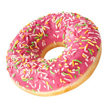 Tasty Donut Dessert With Frosted Coral Color Glaze And Colorful Sprinkles Isolated On White Background. Sweet Food Concept With One Round Pink Doughnut Cake For Your Design And Print