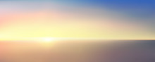 Abstract Aerial Panoramic View Of Sunrise Over Ocean. Nothing But Blue Bright Sky And Deep Dark Water. Beautiful Serene Scene. Romantic Vector Illustration. EPS 10