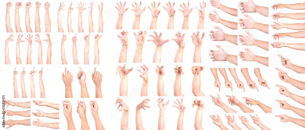 Fototapeta MEGA SET of Multiple Male Caucasian hand gestures isolated over the white background, set of multiple images.