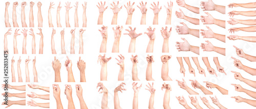 Fényképezés  MEGA SET of Multiple Male Caucasian hand gestures isolated over the white background, set of multiple images