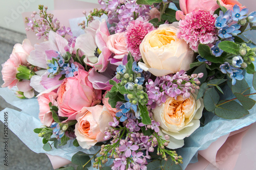 Tablou Canvas Beautiful rich elegant wedding pink bouquet, flowers arrangement by florist with roses, lilac and blue flowers