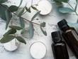 アロマセラピーのイメージ(アロマオイル、キャンドル、ユーカリの葉)