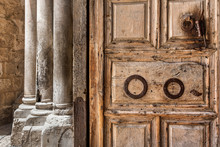 Wooden Door At The Entrance To Holy Sepulchre Church.