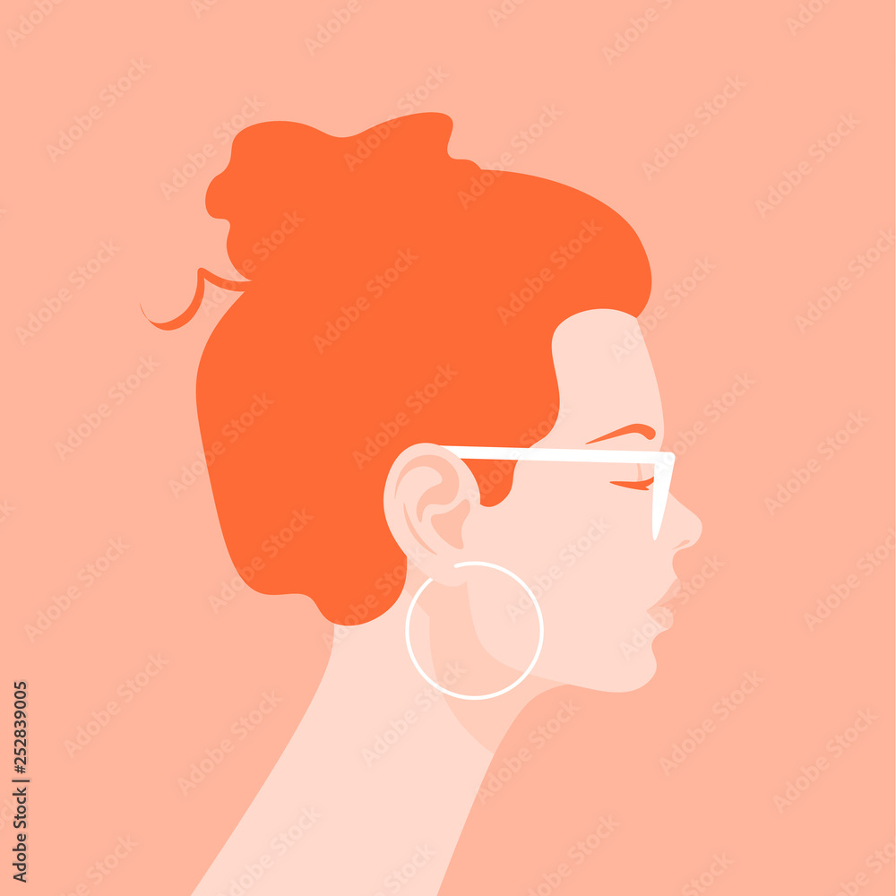 Fototapeta Profile of a young woman. Avatar of a redhead girl with a fashionable hairstyle. Portrait. Vector flat illustration