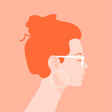 Profile Of A Young Woman. Avatar Of A Redhead Girl With A Fashionable Hairstyle. Portrait. Vector Flat Illustration