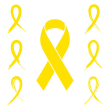 Yellow Ribbon Set With Ink, Paint Brush And Charcoal Style Isolated On White. Collection Of Flat Design Yellow Awareness Ribbons In Seven Different Style.