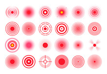 Red Pain Circle. Painful Target Mark, Pain Area Circles And Sore Throat Therapy Remedy Isolated Vector Set