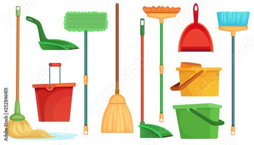 Obraz na płótnie Housework broom and mop