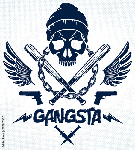 Canvastavla Brutal gangster emblem or logo with aggressive skull baseball bats and other weapons and design elements, vector anarchy crime or terrorism retro style, ghetto revolutionary