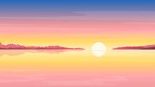 Sea Sunrise Landscape In Yellow Colors, Nature Landscape Illustration, Morning Fog On Lake, Sunset On The Beach Background