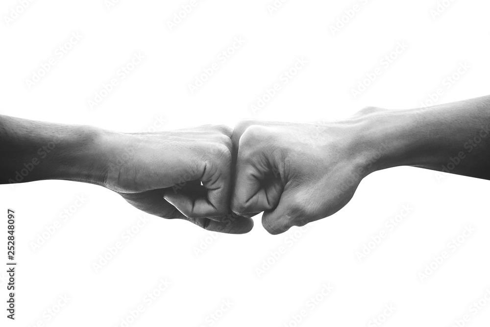 Fototapeta Hands of man people fist bump team teamwork and partnership business success, Black and white image
