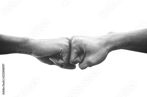 Obraz na plátne Hands of man people fist bump team teamwork and partnership business success, Bl