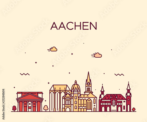 Photo Aachen North Rhine Westphalia Germany vector line