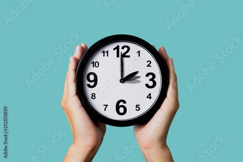 Photo clock being adjusted backward or forward.
