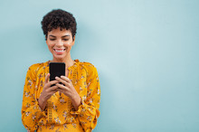 African Stylish Woman Using Smart Phone