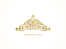 Elegant Glitter Gold Tiara Logo On White Background. Vector Illustration.