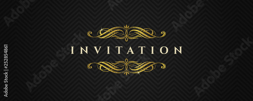 Template invitation with glitter gold flourishes elements on a black chevron pat Wallpaper Mural