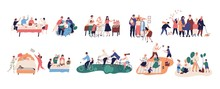 Collection Of Grandparents Spending Time With Relatives - Walking, Reading Books, Riding Bicycles, Celebrating Birthday, Buying Food, Cooking, Planting Trees. Flat Cartoon Vector Illustration.