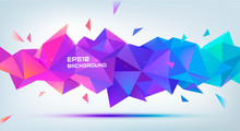 Vector Abstract Geometric 3d Facet Shape. Use For Banners, Web, Brochure, Ad, Poster, Etc. Low Poly Modern Style Background. Purple