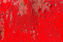 Red Weathered Iron Metal Background With  Peeling Blistering Paint