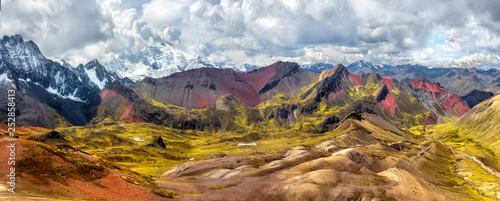 Fotografie, Obraz  Hiking scene in Vinicunca, Cusco Region, Peru.  Rainbow Mountain