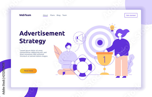Photo  Vector advertisement and marketing strategy web page banner design template with big modern flat line people
