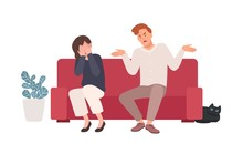Spouses Or Romantic Partners Sitting On Sofa And Quarreling. Husband Shouting At Wife, Offending Her While She Is Crying. Family Or Domestic Abuse, Unhappy Marriage. Flat Cartoon Vector Illustration.