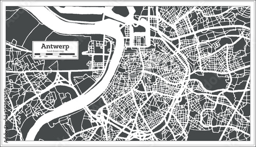 Poster Antwerp Antwerp City Map in Retro Style. Outline Map.