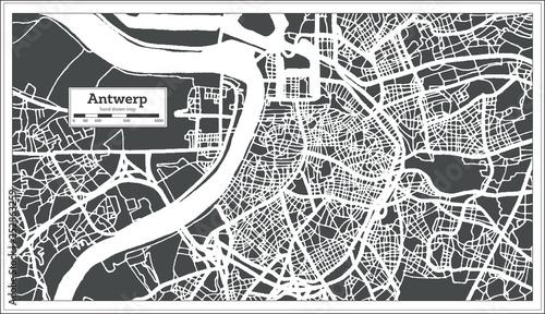 Foto op Plexiglas Antwerpen Antwerp City Map in Retro Style. Outline Map.