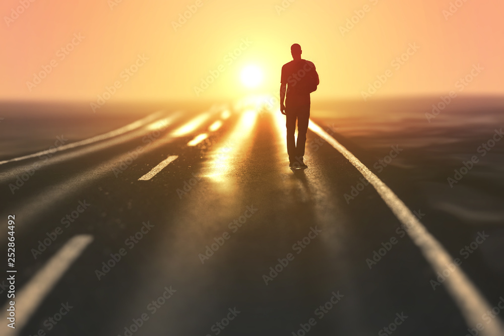Fototapety, obrazy: man goes on an empty road
