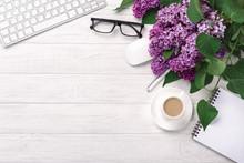 Office Desktop With A Bouquet ...