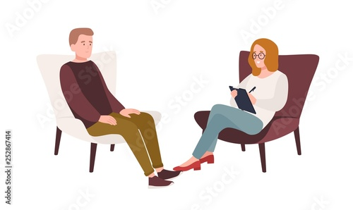 Carta da parati Male patient in armchair and female psychologist, psychoanalyst or psychotherapist sitting in front of him and talking