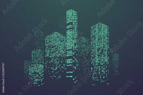 Fotografía  Glowing particles in form of futuristic city skyline