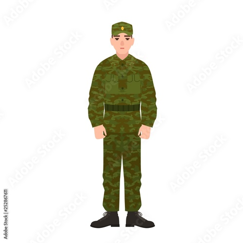 Leinwand Poster Military man of Russian armed force wearing camouflage army uniform