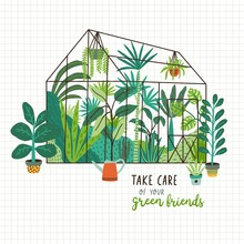 Plants Growing In Pots Or Planters Inside Glass Greenhouse And Take Care Of Your Green Friends Slogan. Glasshouse Or Botanical Garden. Concept Of Home Gardening. Modern Flat Vector Illustration.