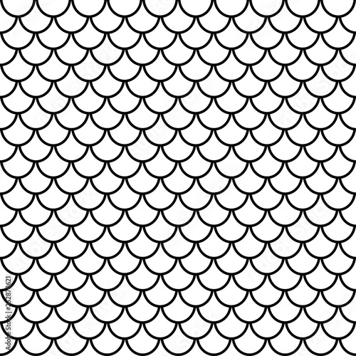 fototapeta na drzwi i meble Fish scales seamless pattern, animal texture, animalistic ornament, vector background. Black and white print, graphic illustration, monochrome tracery. For fabric design, wallpaper, decoration